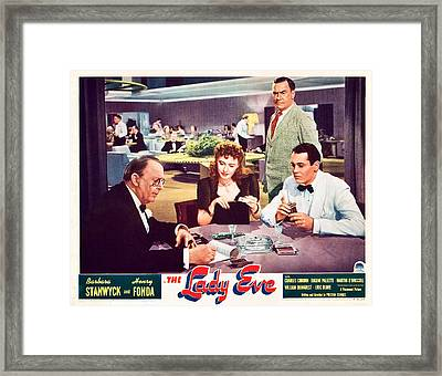 The Lady Eve, Us Lobbycard, Front Framed Print by Everett