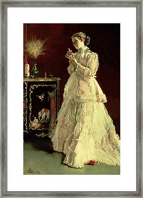 The Lady In Pink, 1867 Oil On Panel Framed Print