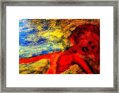 The Lady In Red Is Drifting Away Again  Framed Print