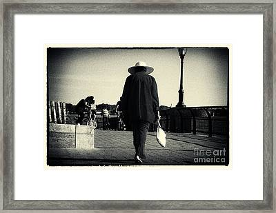The Lady With The Hat New York City Framed Print by Sabine Jacobs