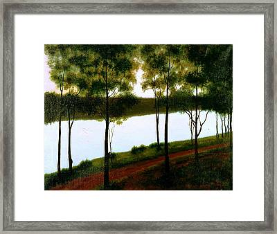 The Lake After Sunset  Framed Print by Laila Awad Jamaleldin