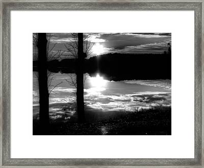 The Lake - Black And White Framed Print