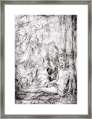 The Lamentation Of Christ Framed Print by Circle of Hans Baldung Grien
