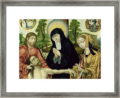 The Lamentation Of The Dead Christ, C.1520 Oil On Panel See 150818 And 150820 Framed Print by Hamburg Master
