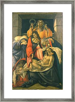 The Lamentation Over The Dead Christ Framed Print by Sandro Botticelli