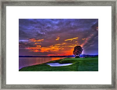 The Landing Golf Sunset On Lake Oconee  Framed Print by Reid Callaway