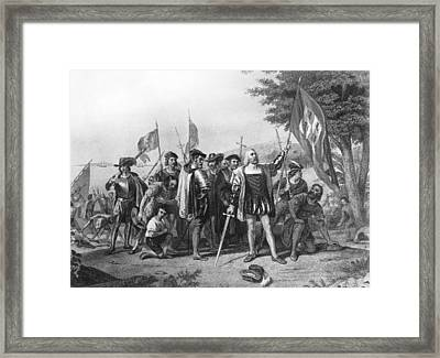 The Landing Of Columbus Framed Print by Underwood Archives