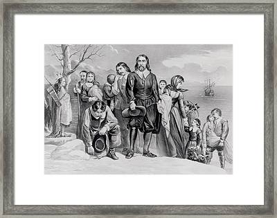 The Landing Of The Pilgrims At Plymouth, Mass. Dec. 22nd, 1620, Pub. 1876 Engraving Bw Photo Framed Print by N. Currier