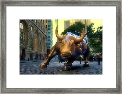 The Landmark Charging Bull In Lower Manhattan 2 Framed Print