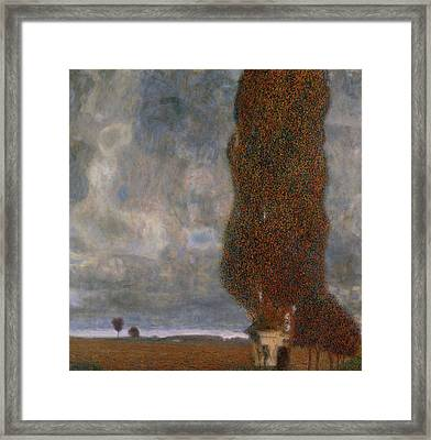 The Large Poplar II Gathering Storm Framed Print by Gustav Klimt