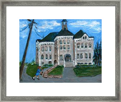 The Last Bell At West Hill School Framed Print by Betty Pieper