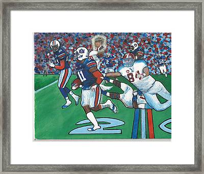 The Last Grasp Alabama Auburn Iron Bowl 2013 Add Nostalgia  Framed Print by Ricardo Of Charleston