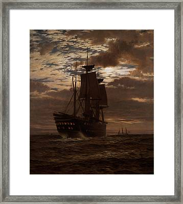 The Last Indian Troopship Hms Malabar Framed Print by Charles Parsons Knight