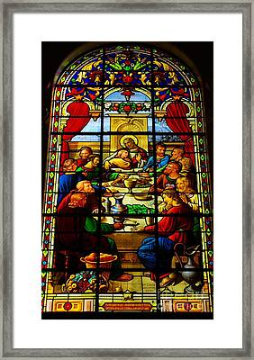 Framed Print featuring the photograph The Last Supper In Stained Glass by John S