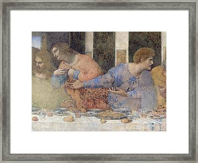 Detail Of The Last Supper Framed Print by Leonardo da Vinci