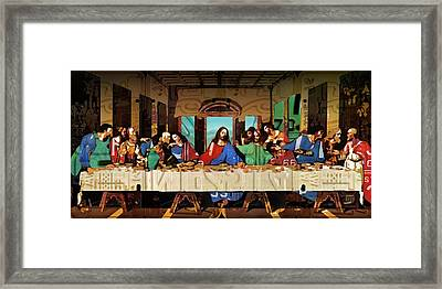 The Last Supper By Leonardo Da Vinci Recreated In Recycled Vintage License Plates Framed Print by Design Turnpike