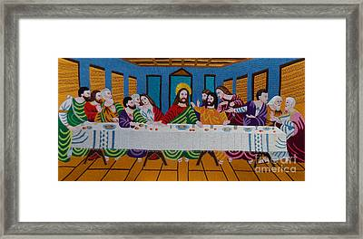The Last Supper Hand Embroidery Framed Print by To-Tam Gerwe