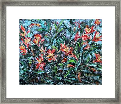 Framed Print featuring the painting The Late Bloomers by Xueling Zou