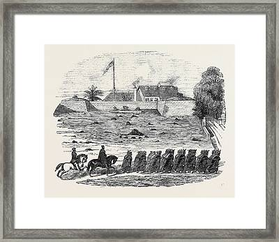 The Late Disaster At Mallaghea Framed Print by Indian School