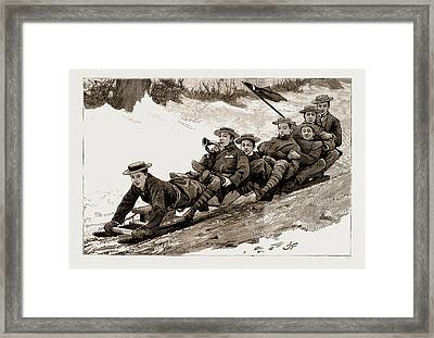 The Late Frost Coasting On A Bob Sleigh At Harrow Framed Print by Litz Collection