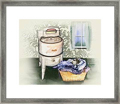 Framed Print featuring the digital art The Laundry Room by Mary Almond