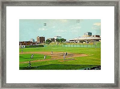 The Lawrence Baseball Stadium In Wichita Ks Around 1920 Framed Print by Dwight Goss