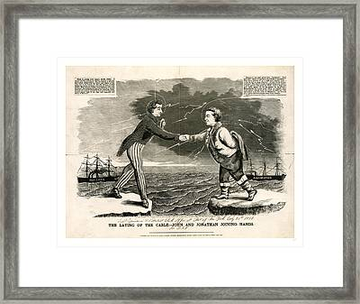 The Laying Of The Cable John And Jonathan Joining Hands Framed Print by Irish School