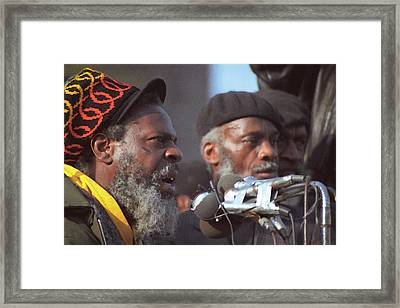 The Leaders Of A Local Antyracist Movement While Performing Their Speach During Toronto Riots 1992 Framed Print by T Monticello