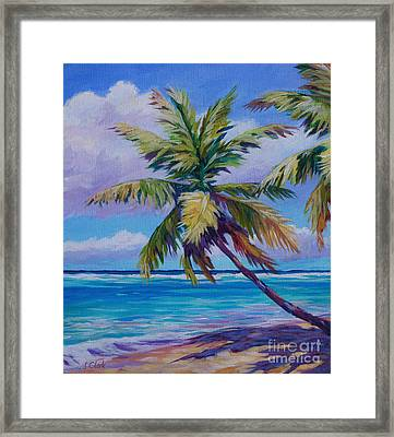 The Leaning Palm Framed Print by John Clark