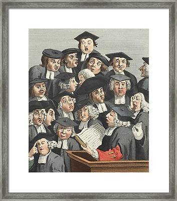 The Lecture, Illustration From Hogarth Framed Print