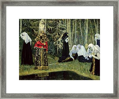 The Legend Of The Invisible City Of Kitezh, 1917-22 Oil On Canvas Framed Print by Mikhail Vasilievich Nesterov