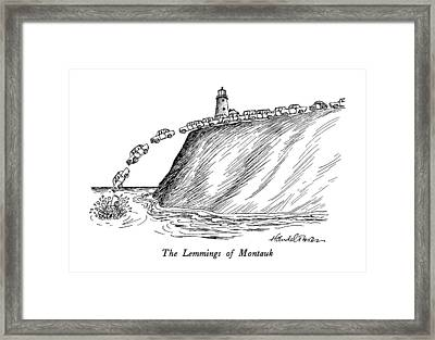 The Lemmings Of Montauk Framed Print by J.B. Handelsman
