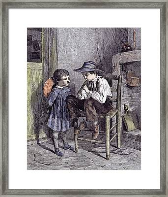 The Lesson On The Flageolet Children 1860 Playing Wooden Framed Print by English School