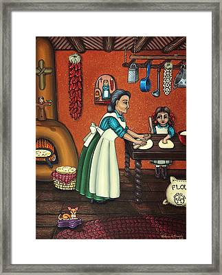 The Lesson Or Making Tortillas Framed Print by Victoria De Almeida