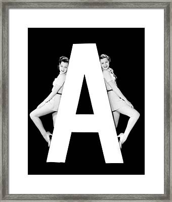 The Letter a And Two Women Framed Print