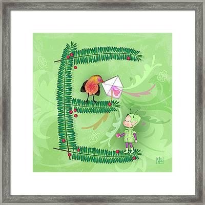 The Letter E For Evergreen And Elf Framed Print by Valerie Drake Lesiak