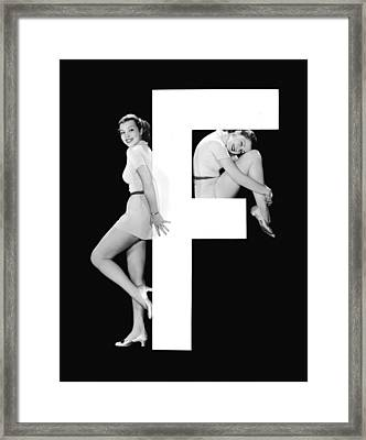The Letter f And Two Women Framed Print