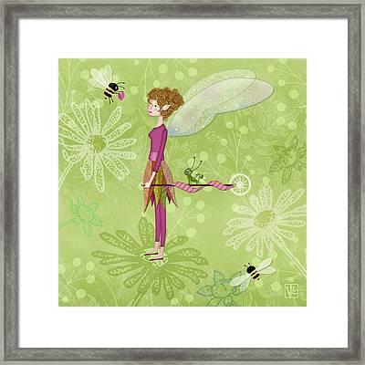 The Letter F Is For Fairy Framed Print by Valerie Drake Lesiak
