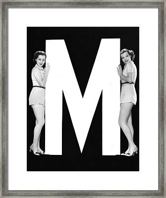 The Letter m  And Two Women Framed Print