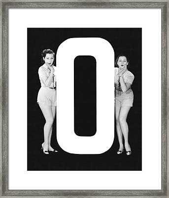 The Letter o  And Two Women Framed Print by Underwood Archives