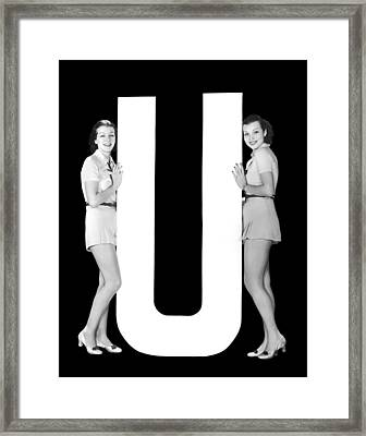 The Letter u And Two Women Framed Print