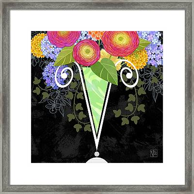 The Letter V For Vase Of Various Flowers Framed Print