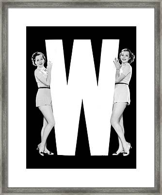 The Letter w And Two Women Framed Print