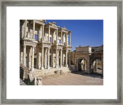 The Library At Ephesus Framed Print