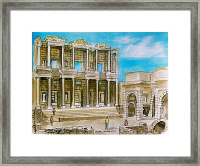 The Library At Ephesus Turkey Framed Print by Frank Hunter