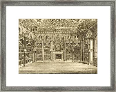 The Library, Engraved By Godfrey Framed Print by English School