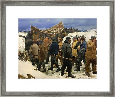 The Lifeboat Is Taken Through The Dunes Framed Print by Mountain Dreams