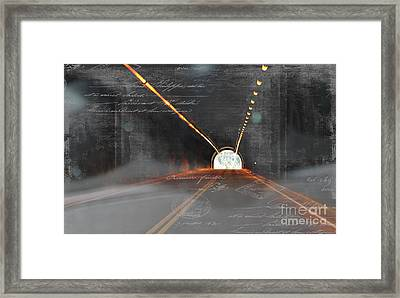 The Light At The End Of The Tunnel Framed Print by Janice Rae Pariza