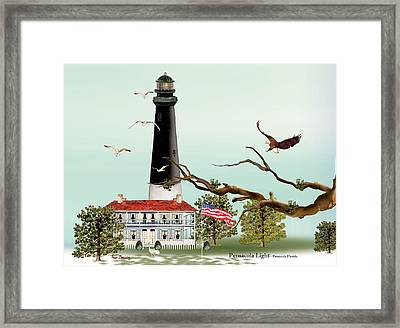 The Light House At Pensacola Framed Print by Anne Beverley-Stamps