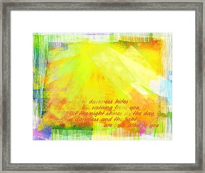 The Light Framed Print by Jocelyn Friis